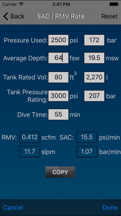 Dive Calculator
