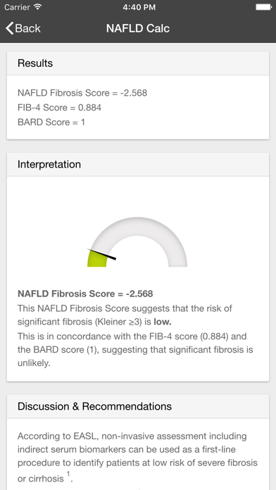 NAFLD Calc screenshot one