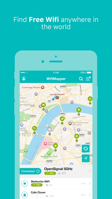 WifiMapper – free Wifi maps, find cafe hotspots, travel without roaming fees Screenshot