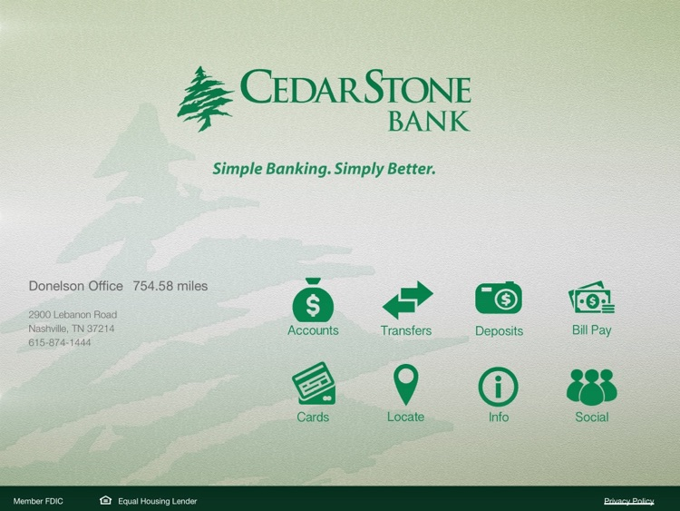 CedarStone Bank App for iPad