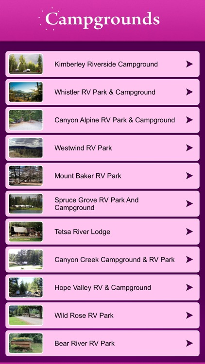 British Columbia Campgrounds and RV Parks