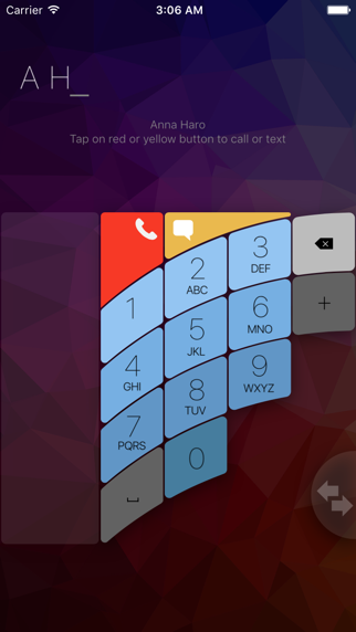 FutureDialer: ergonomic dialer for single-handed use, with fast T9 contact search screenshot