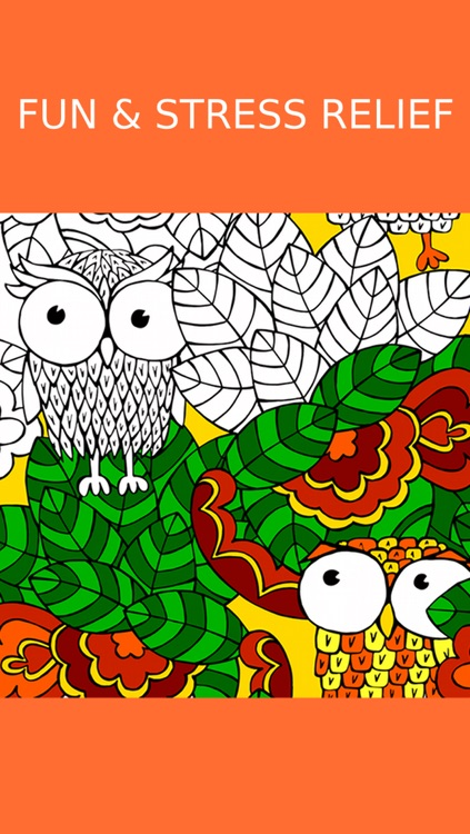 Owl Coloring Book For Adults: Free Fun Adult Coloring Pages - Relaxation Anxiety Stress Relief Color Therapy Games screenshot-3