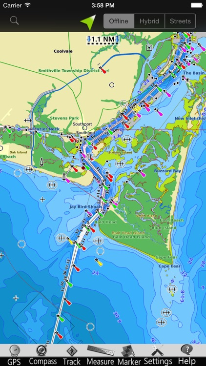 North Carolina nautical chart GPS tracker screenshot-3