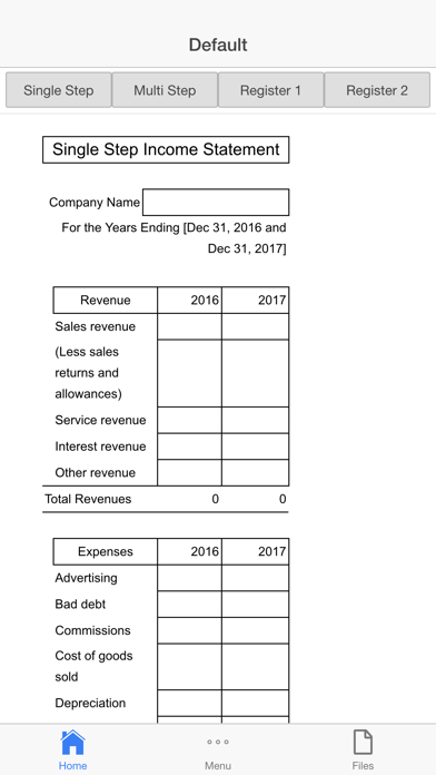 Income Statement Screenshots