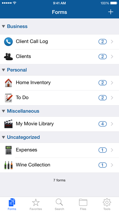 Tap Forms Organizer And Secure Database review screenshots
