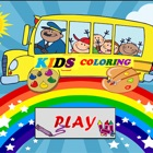 Kids coloring book or games for kindergarten icon