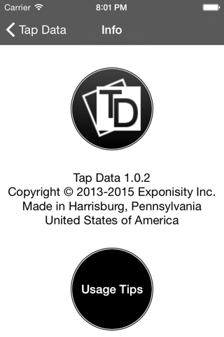 Screenshot of Tap Data for ECMS