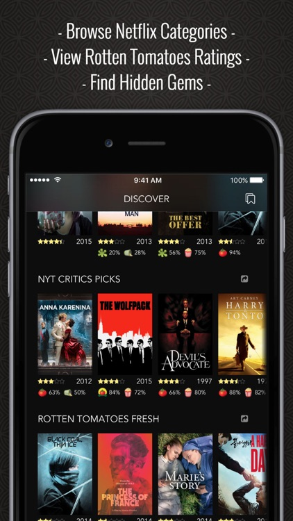 Discover Premium : for Netflix Unlimited with Rotten Tomatoes Ratings and Queue Pro