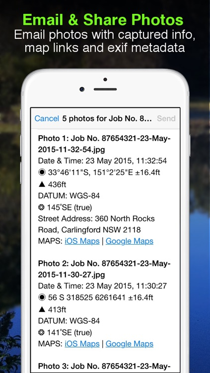 Solocator - GPS Field Camera to stamp photos with location, direction, altitude, date, time + optional editable notes