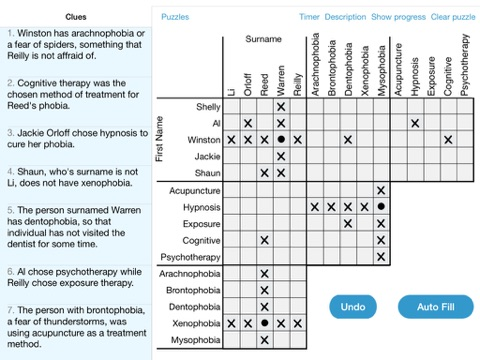 LogiGrid Logic Problem Puzzles screenshot