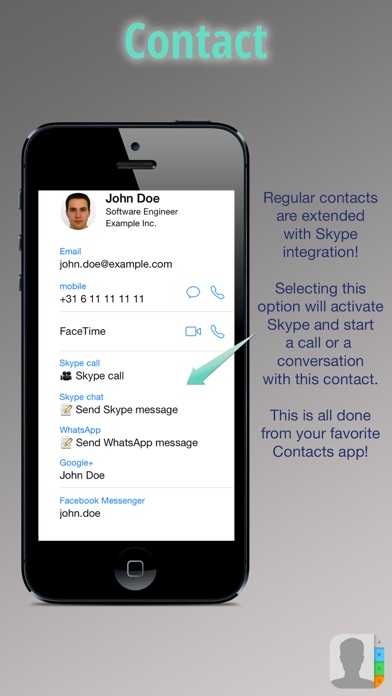 Sky Contacts - Start Skype calls and send Skype messages from your contactsのおすすめ画像1