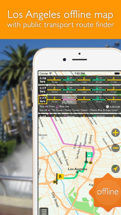 Los Angeles offline map with public transport route planner for my journey