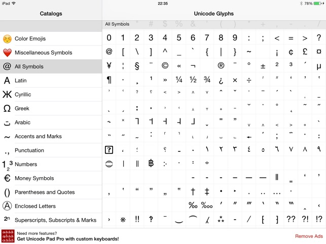 Unicode Pad Express on the App Store