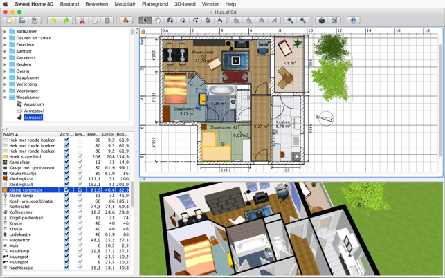 Sweet home 3d in de mac app store for App plattegrond tekenen