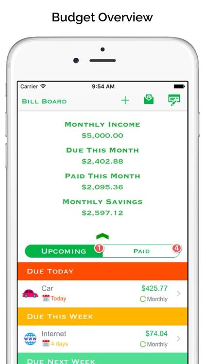 Bill Board - bill reminder & income tracker screenshot-3