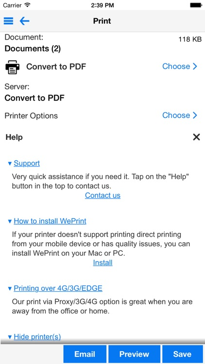 PrintDirect for iPhone