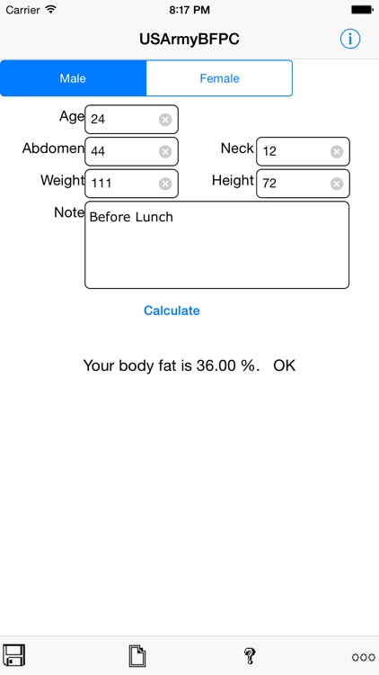 Army Body Fat Percentage Calculator for iPhone