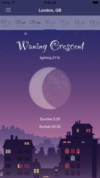 Moon Phase - Calendar, Sunrise, Sunset screenshot-0