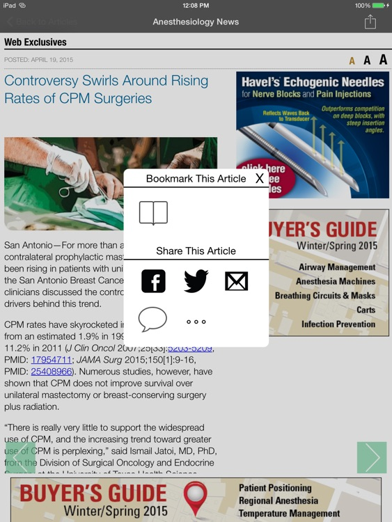 Anesthesiology News