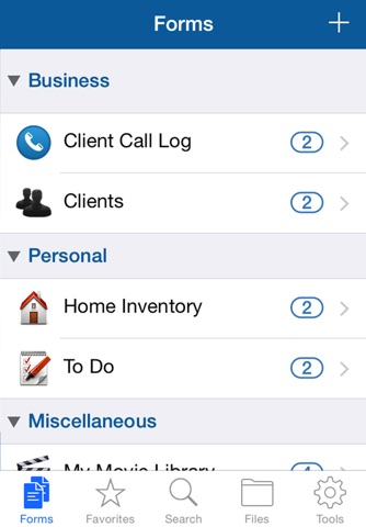 Screenshot of Tap Forms Lite Organizer and Secure Database