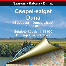 Csepel Island, Danube. Tourist map.