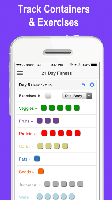21 Day Tracker - containers to fix & tone your body