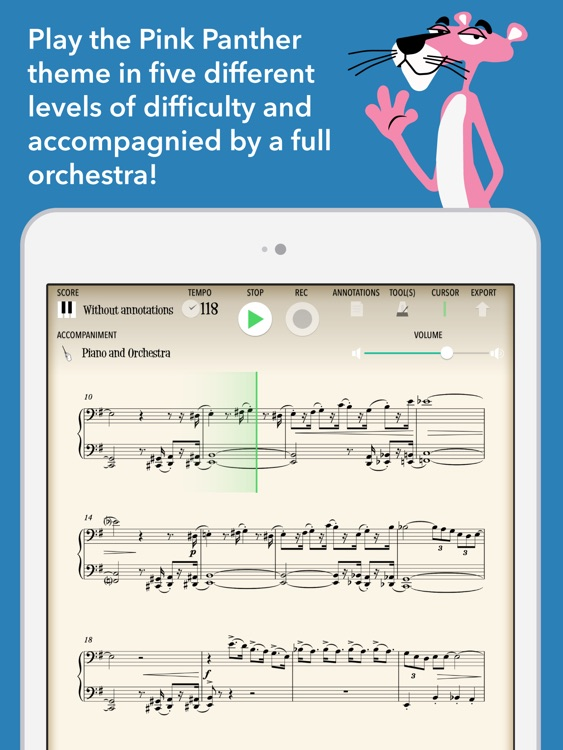 The Pink Panther (interactive sheet music)
