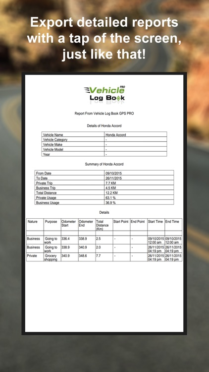 Vehicle Log Book GPS PRO