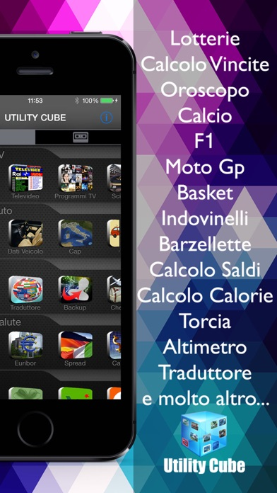 AppItaliane 60 in 1 (Utility Cube italiano calcolo e ricerca cambio saldi e punti patente bollo targa )