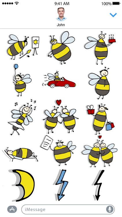Funny Bee Stickers screenshot-4