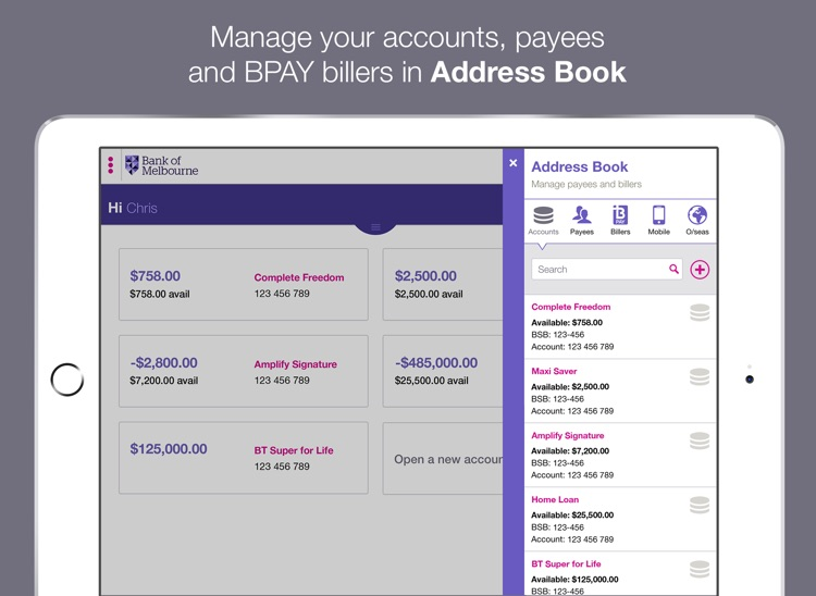 Bank of Melbourne iPad Banking screenshot-2
