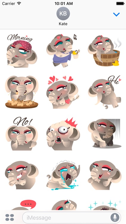 Dunbee, the funny elephant for iMessage Stickers