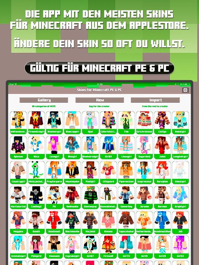 Skins For Minecraft PE PC Free Skins Im App Store - Skin fur minecraft pe erstellen