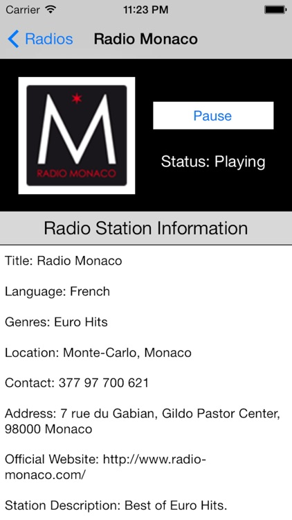 Monaco Radio Live Player (French / le français)