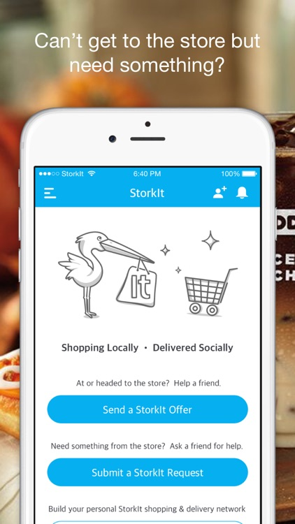 StorkIt App - Orders Delivered By Friends
