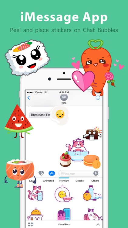 Kawaii Food Emoji Keyboard & Sticker Packs