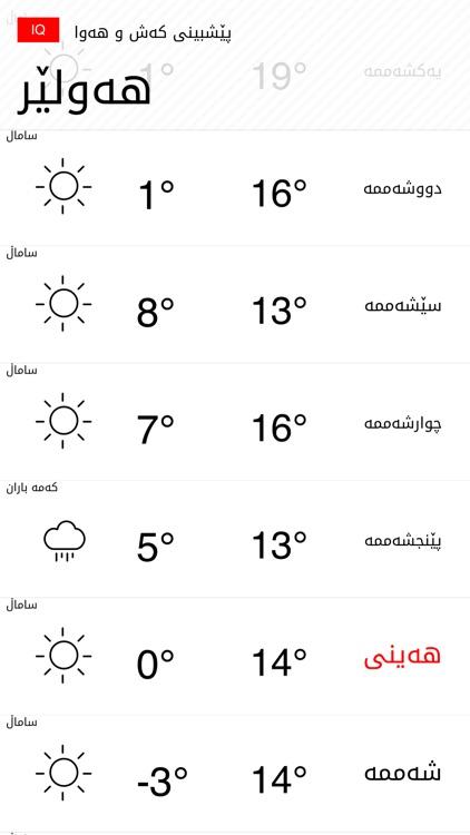 Kurdish Weather کەش و ھەوا screenshot-4