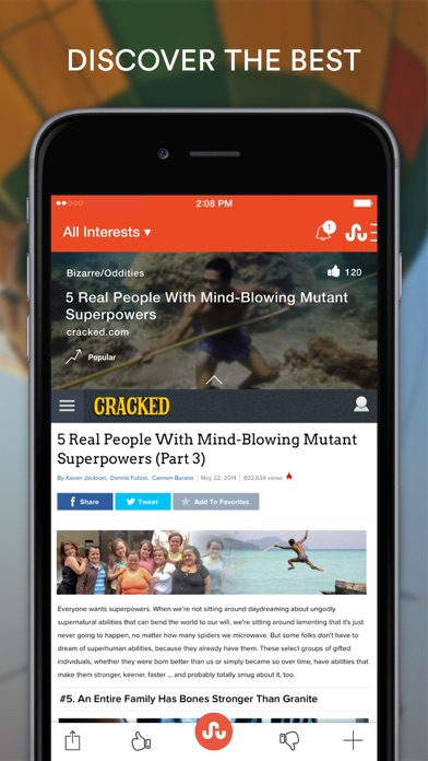 Screenshot 1 for StumbleUpon's iPhone app'