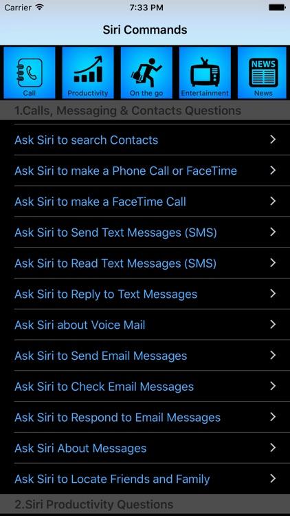 Command List for Siri