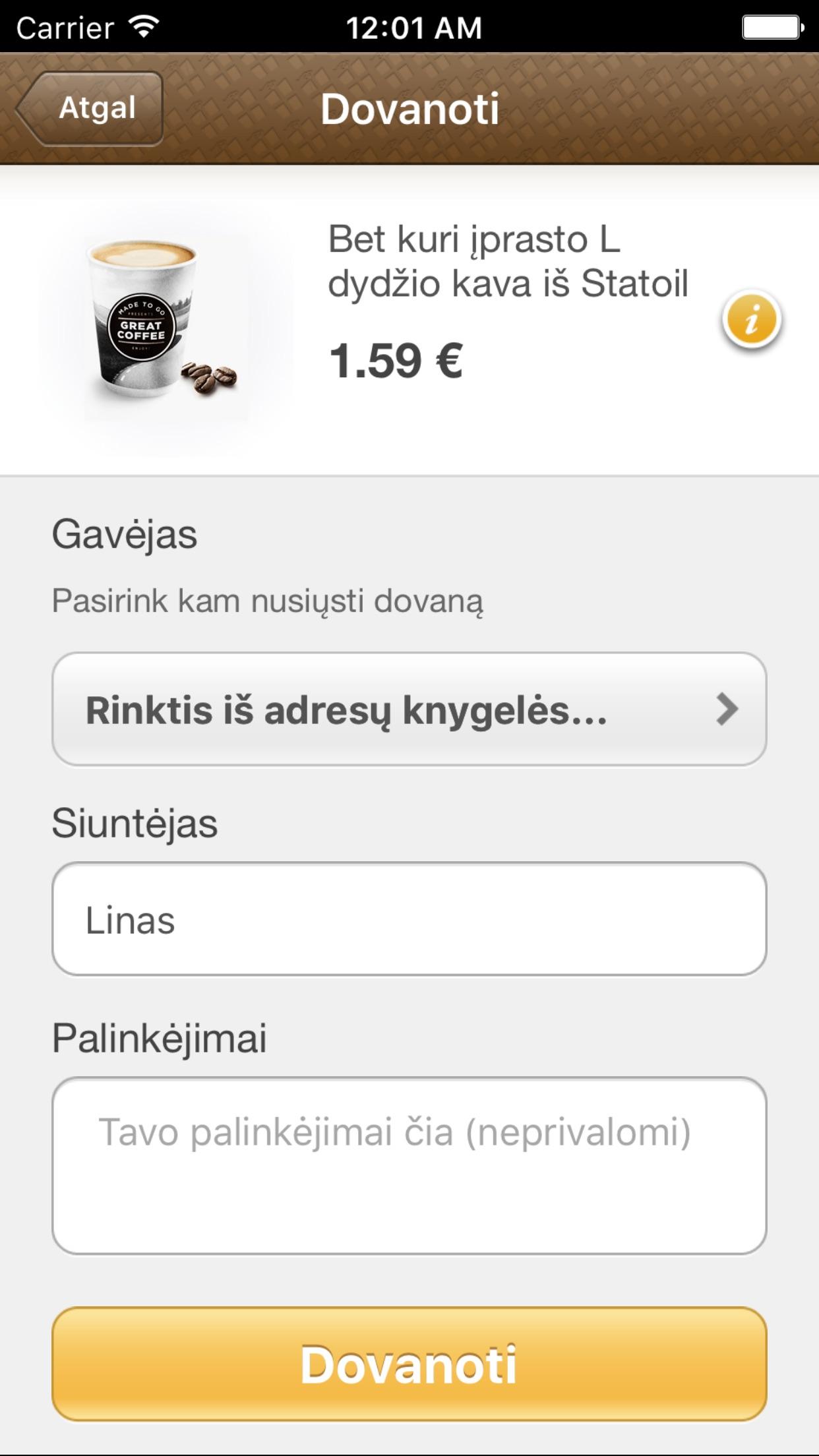Gifty! Screenshot