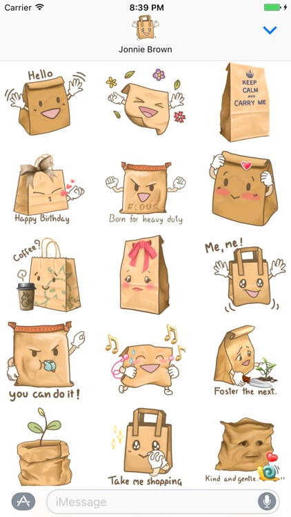 Choose the Paper Bag Stickers for Text Messages