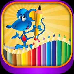 Coloring page for kids painting animals