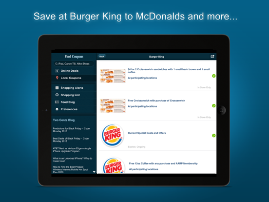 Food Coupons - With Fast Food Restaurant Deals App screenshot