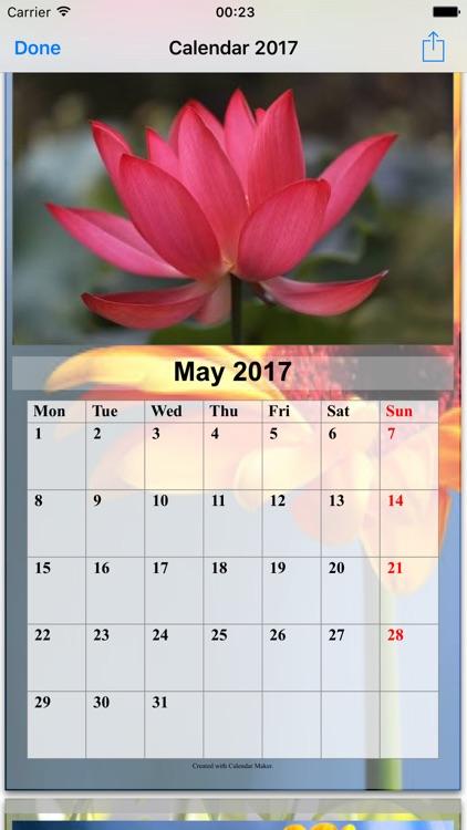 Calendar Maker 2017 - Create Photo Calendar as PDF