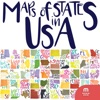 Maps of States in U.S.A. stickers by ?ebnem