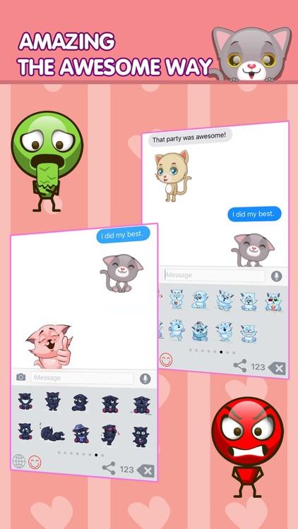 Smily Cat Emoji Me Meaning Sending Blue Keyboard screenshot-3