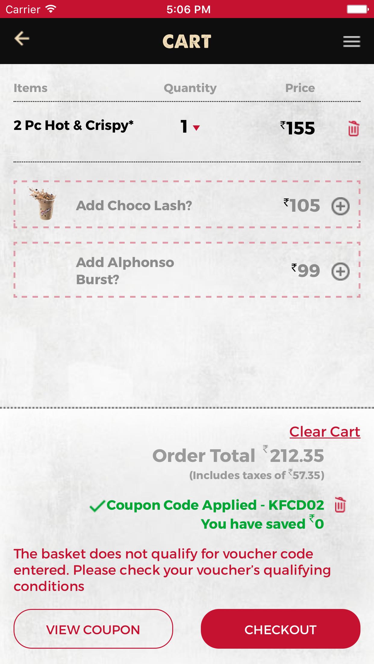 KFC India Screenshot