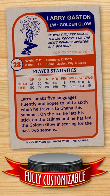 Hockey Card Maker - Make Your Own Custom Hockey Cards with Starr Cards