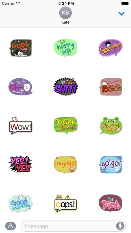 Cute Comic Talk Stickers Pack
